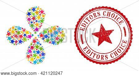 Red Star Colorful Exploding Flower Cluster, And Red Round Editors Choice Dirty Badge. Red Star Symbo