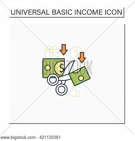 Less Spending Color Icon. Reasonable Money Use. Mindful Spending.scissors Cut Money.universal Basic
