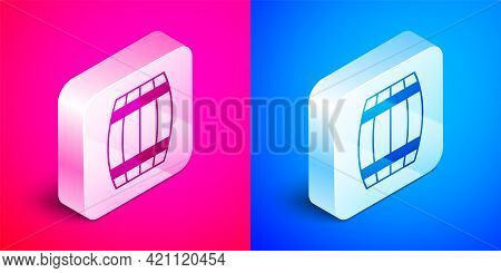 Isometric Wooden Barrel Icon Isolated On Pink And Blue Background. Alcohol Barrel, Drink Container,