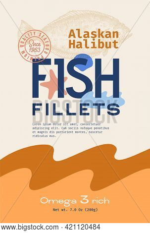 Fish Fillets Abstract Vector Packaging Design Or Label. Modern Typography, Hand Drawn Wild Alaskan H