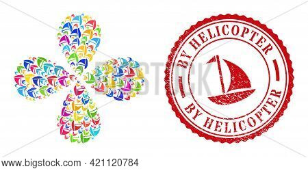 Sail Boat Bright Centrifugal Flower Cluster, And Red Round By Helicopter Scratched Seal. Sail Boat S