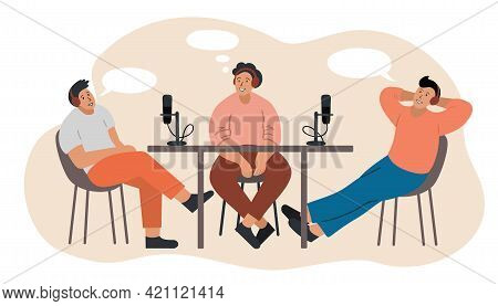 Cartoon People Recording Podcast In Studio. Person Radio Host Interviewing Guests On Radio Station.