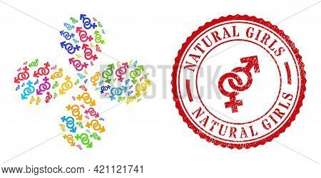 Straight Sex Symbol Colorful Twirl Abstract Flower, And Red Round Natural Girls Scratched Stamp Seal