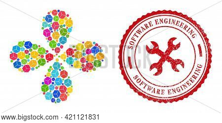 Sugar Cube Multicolored Explosion Flower With Four Petals, And Red Round Software Engineering Grunge