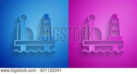 Paper Cut Oil Platform In The Sea Icon Isolated On Blue And Purple Background. Drilling Rig At Sea.