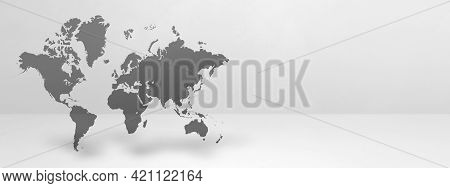 World Map Isolated On White Wall Background. 3d Illustration. Horizontal Banner