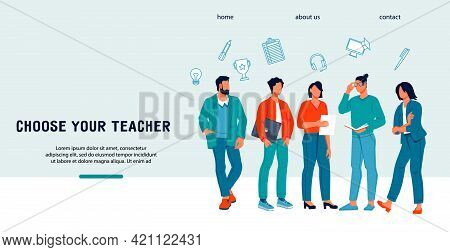 Website Of University Or Other Educational Institution, Online Courses With Group Of Young Teachers.