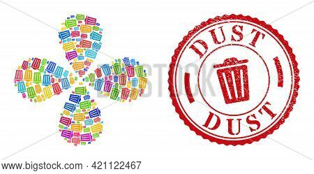Trash Can Colored Curl Flower With Four Petals, And Red Round Dust Textured Stamp Print. Trash Can S