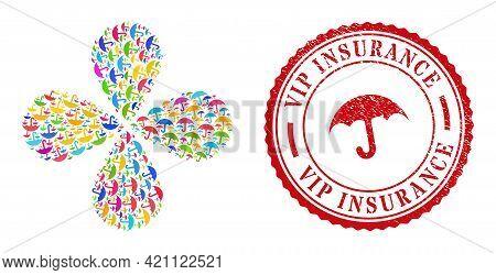 Umbrella Colored Rotation Fireworks, And Red Round Vip Insurance Dirty Stamp Imitation. Umbrella Sym