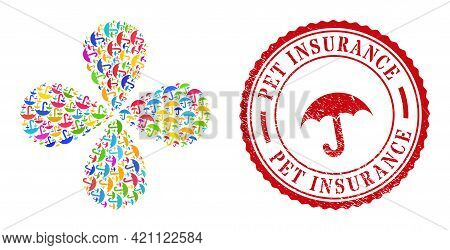 Umbrella Bright Curl Flower With Four Petals, And Red Round Pet Insurance Corroded Badge. Umbrella S