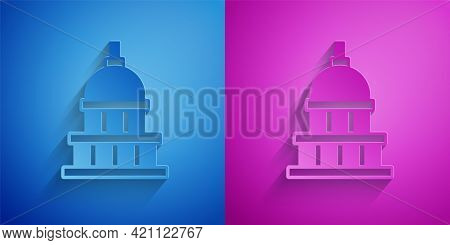 Paper Cut White House Icon Isolated On Blue And Purple Background. Washington Dc. Paper Art Style. V