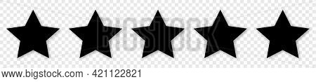 5 Black Stars Icon. Customer Feedback Concept. Vector 5 Stars Rating Review. Simple Flat Style With