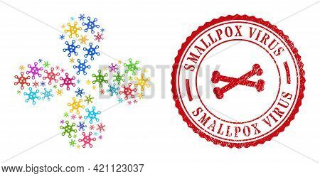 Virus Colorful Twirl Flower Shape, And Red Round Smallpox Virus Scratched Stamp Print. Virus Symbol