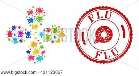 Virus Robot Multi Colored Swirl Bang, And Red Round Flu Rubber Stamp Imitation. Virus Robot Symbol I