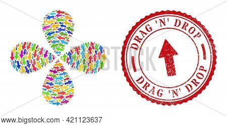 Arrow Up Colorful Curl Fireworks, And Red Round Drag N Drop Rubber Stamp Imitation. Arrow Up Symbol