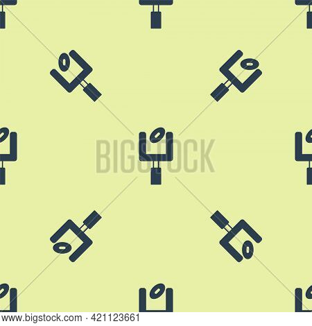 Blue American Football Goal Post And Football Ball Icon Isolated Seamless Pattern On Yellow Backgrou