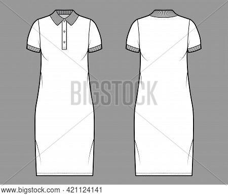 Dress Polo Fashion Illustration With Short Sleeves, Oversized Body, Knee Length Pencil Skirt, Henley