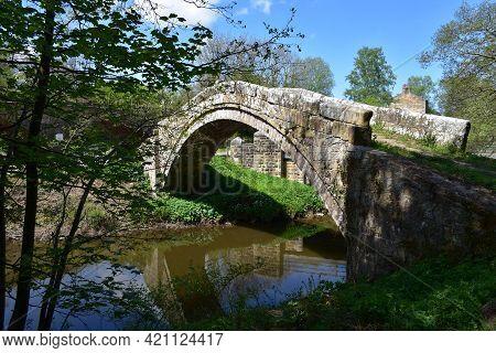 Stone Bridge Known As Beggar's Bridge In North Yorkshire England.