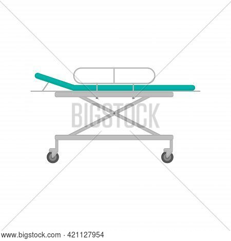 Medical Stretcher In Blue Color For Emergency Care Of Patients And For Moving Them Around The Hospit