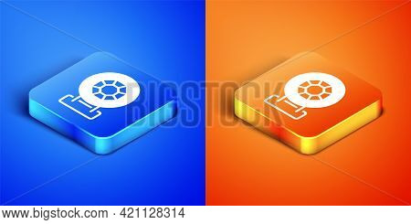 Isometric Front Facade Building Jewelry Store Icon Isolated On Blue And Orange Background. Square Bu