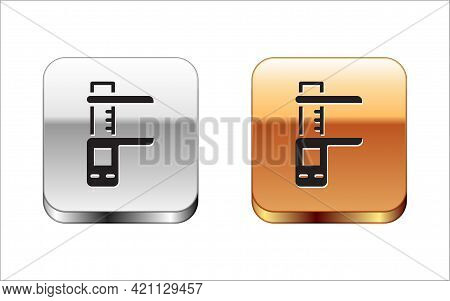Black Calliper Or Caliper And Scale Icon Isolated On White Background. Precision Measuring Tools. Si