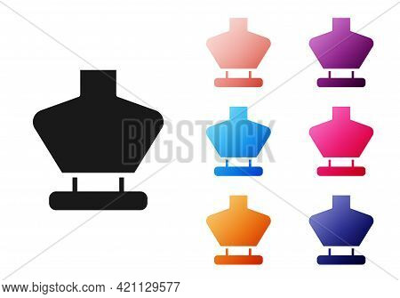 Black Necklace On Mannequin Icon Isolated On White Background. Jewelry Bust. Dummy For Costume Jewel