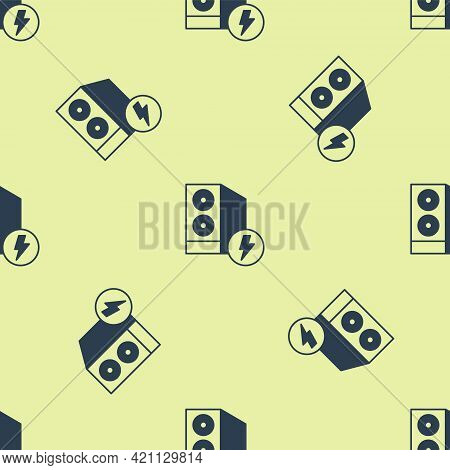 Blue Case Of Computer Icon Isolated Seamless Pattern On Yellow Background. Computer Server. Workstat