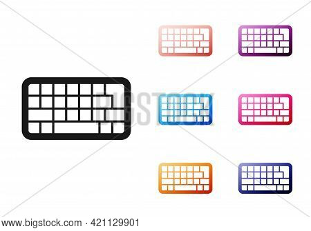 Black Computer Keyboard Icon Isolated On White Background. Pc Component Sign. Set Icons Colorful. Ve