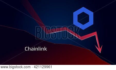 Chainlink Link In Downtrend And Price Falls Down. Crypto Coin Symbol And Red Down Arrow. Uniswap Cru