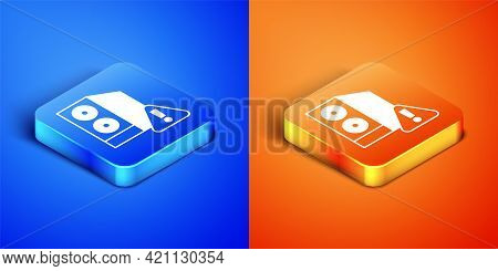 Isometric Case Of Computer With Exclamation Mark Icon Isolated On Blue And Orange Background. Comput