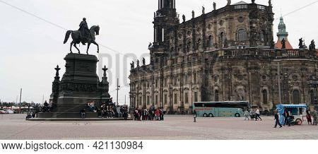 DRESDEN, GERMANY - APRIL, 2016: Dresden Cathedral   Catholic Church of the Royal Court of Saxony
