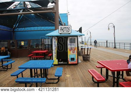 May 14, 2021 Santa Monica California, USA: Photo Booth. A self service Photo Booth on the Santa Monica Pier for all to enjoy. Have your Selfie Pictures Taken in a Photo Booth. Editorial Use.