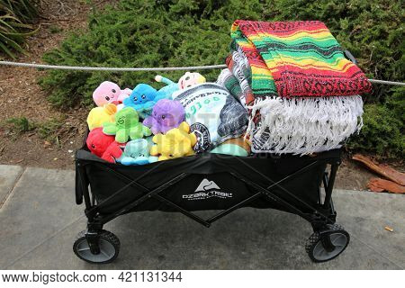 May 14, 2021 Santa Monica California, USA: Street Vendors with Push Carts sell various items to tourist while shopping and visiting the Santa Monica Pier and down town area. Editorial Use.