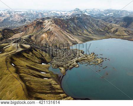 Drone shot of Ljotipollur volcanic crater at Landmannalaugar in the Fjallabak Nature Reserve, the Highlands of Iceland