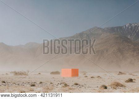 Orange cube in the Californian desert
