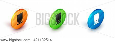 Isometric Optical Disc Drive Icon Isolated On White Background. Cd Dvd Laptop Tray Drive For Read An