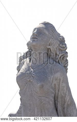 Close up of stone sculpture of woman with eyes closed on white background. art and classical style romantic figurative stone sculpture.