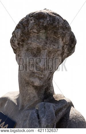 Close up of stone sculpture of man on white background. art and classical style romantic figurative stone sculpture.