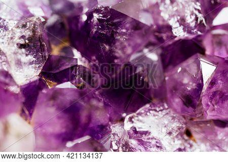 Amethyst crystal gemstone macro photography