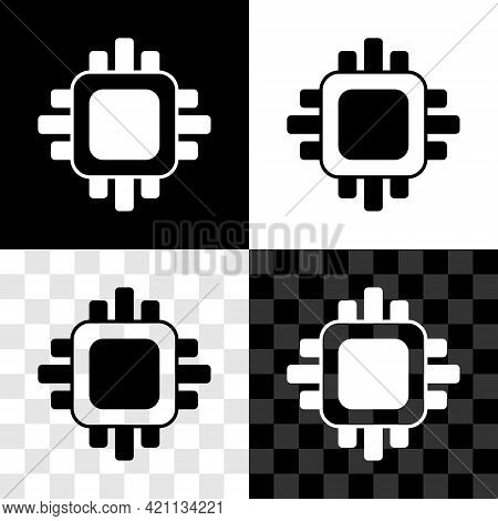 Set Computer Processor With Microcircuits Cpu Icon Isolated On Black And White, Transparent Backgrou