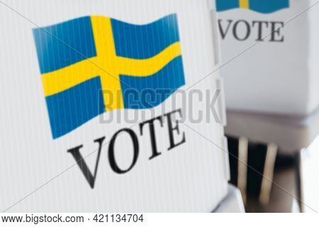 Sweden flag printed on a polling booth