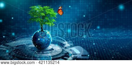 Tree Growing On Earth With Abstract Blue Background. Environmental Technology, Earth Day, Energy Sav