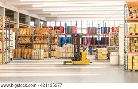 forklift truck that transports packages inside a factory. 3d render.