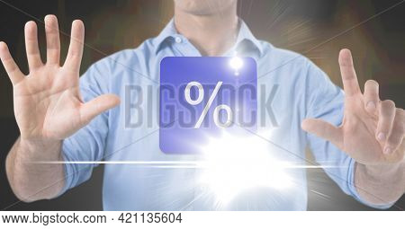 Composition of percentage sign on purple tile over midsection of man using virtual interface. global communication technology digital interface concept, digitally generated image.