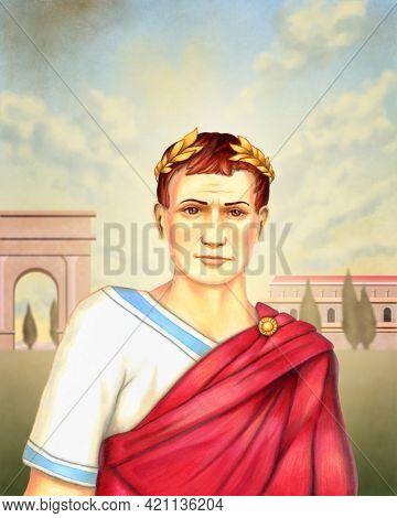 Portrait of emperor Julius Caesar. Mixed-media illustration.