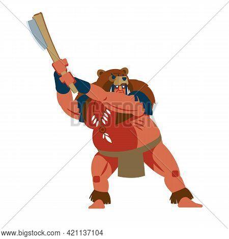 Bear Monster. American Indian In Animal Bear Monster Costume At Battlefield. Native Peoples Of Ameri