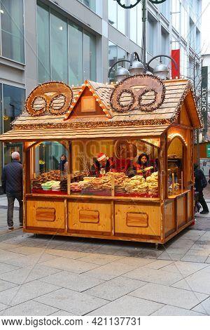 Frankfurt, Germany - December 6, 2016: People Visit Christmas Market In Frankfurt, Germany. The Trad