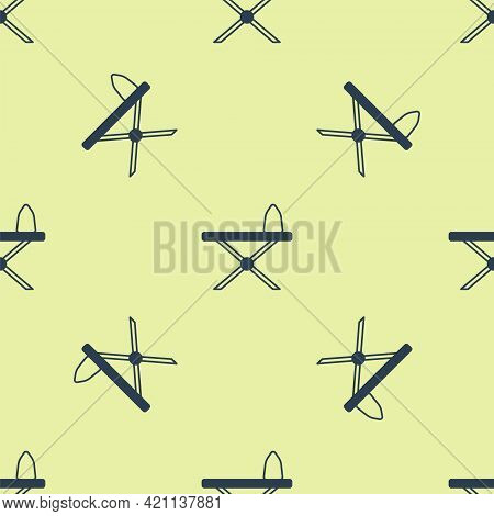 Blue Electric Iron And Ironing Board Icon Isolated Seamless Pattern On Yellow Background. Steam Iron