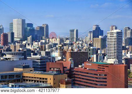 Osaka, Japan - November 22, 2016: Urban Skyline Of Umeda, Osaka City, Japan. Osaka Belongs To 2nd La