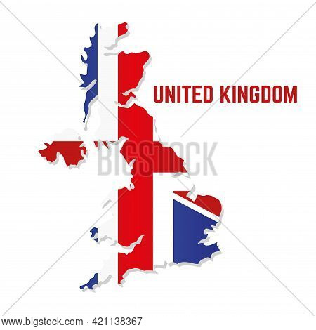 Isolated Map With Flag Of United Kingdom Vector Illustration